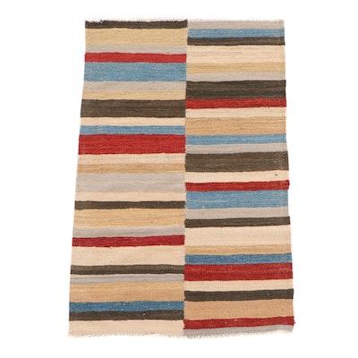 3'1 x 4'11 Handwoven Pakistani Kilim Banded Wool Rug