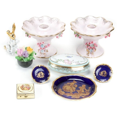 Lefton and Coal Port Trinket Boxes, Candlesticks and Other Porcelain Decor