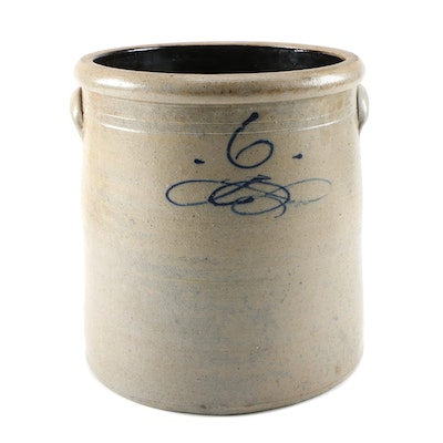 6 Gallon Salt Glazed Stoneware Crock, Late 19th/Early 20th Century
