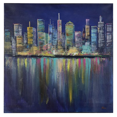 "Thea Mamukelashvili Acrylic Painting ""Night City Lights"""