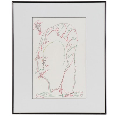 Charles Keeling Lassiter Modernist Portrait Colored Pencil Drawing
