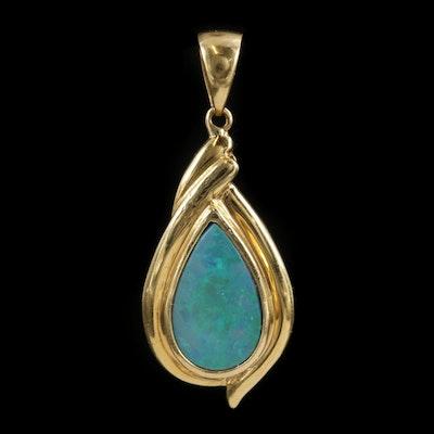 18K Yellow Gold Opal Doublet Pendant