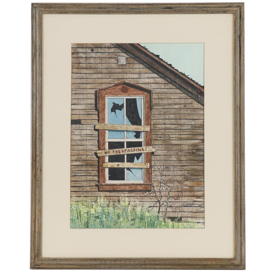 Gouache and Watercolor Painting of Facade of Derelict Building, Signed Calhoun
