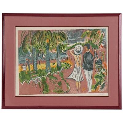 """Jean-Claude Picot Color Lithograph """"Idylle d'Enghien"""""""