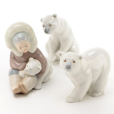 Lladró Polar Bear Porcelain Figurines Designed by Juan Huerta, Late 20th Century