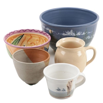 Handcrafted Ceramic Pottery Bowls, Pitcher, and Oversize Mug