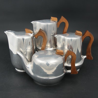 Picquot Magnalium Tea and Coffee Pots with Sycamore Wood Handles, Circa 1965