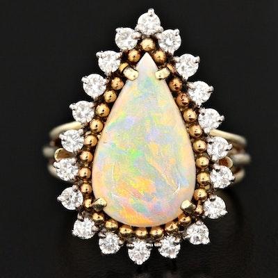 1960s Jack Gutschneider 14K Opal and Diamond Halo Ring