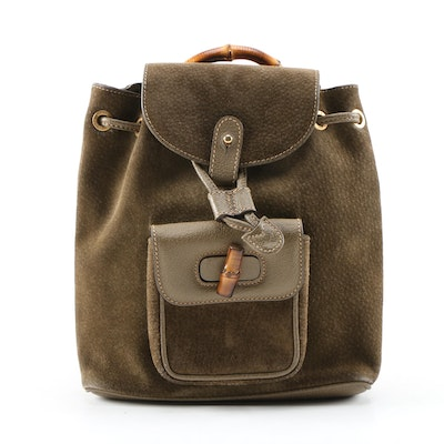 Gucci Small Bamboo Rucksack in Olive Green Suede and Leather, Vintage