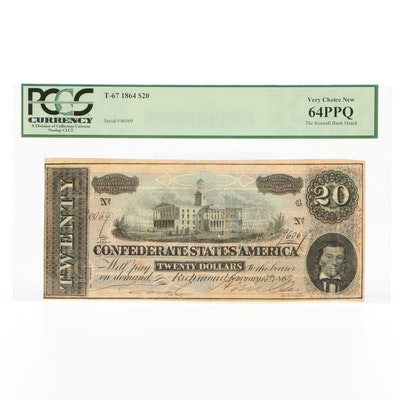 PCGS Graded 1864 Confederate States of America $20 Currency Note