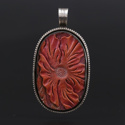 Joe Piaso Jr. Navajo Diné Sterling Silver and Patterned Leather Pendant