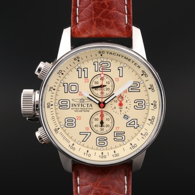 Invicta Left Hand Stainless Steel Chronograph Wristwatch