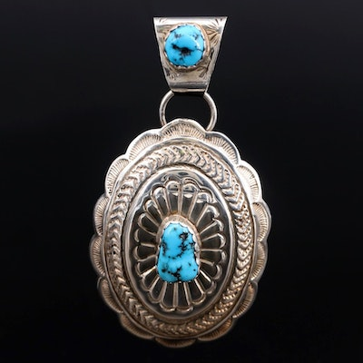 Southwestern Style Sterling Turquoise Pendant Featuring Stamp Work Design