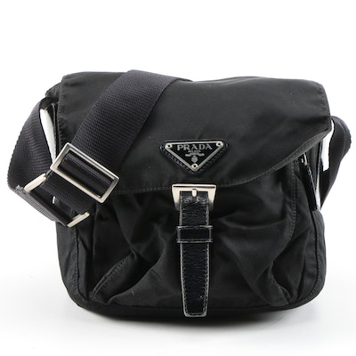 Prada Small Crossbody Bag in Black Tessuto Nylon and Leather