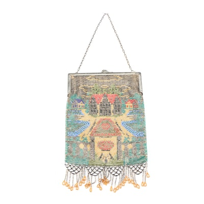 Chateau Motif Glass Beaded Handbag with Lattice Fringe, Early 20th Century