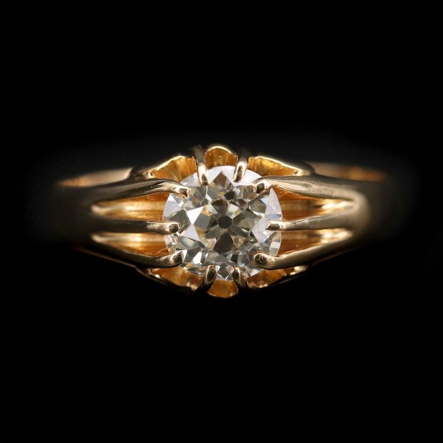18K Yellow Gold 1.42 CT Diamond Ring