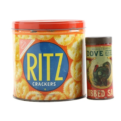 National Biscuit Co. Ritz Crackers Tin with Dove Brand Rubbed Sage Tin