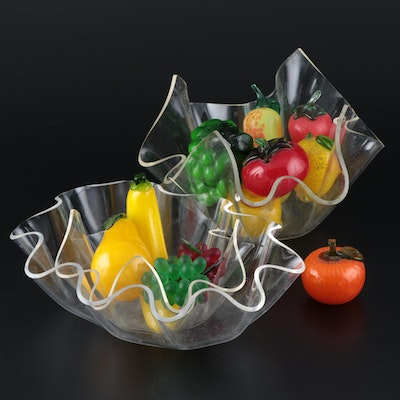 Handcrafted Glass Fruit with Clear Acrylic Bowls