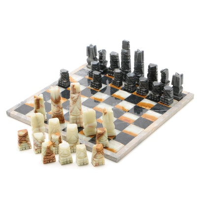 Mexican Onyx Chess Set with Aztec Style Carved Pieces