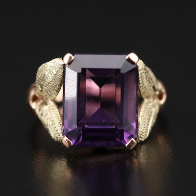 14K Rose Gold Amethyst Ring with 14K Green Gold Foliate Accents