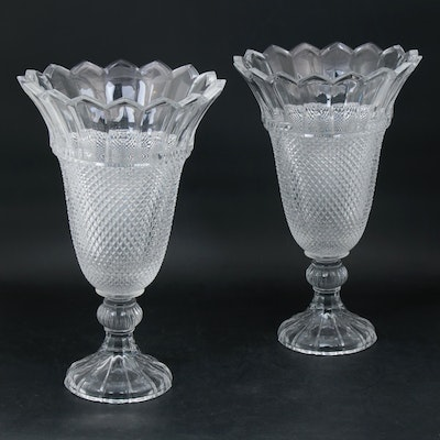 Oversize Pressed Glass Vases, Pair