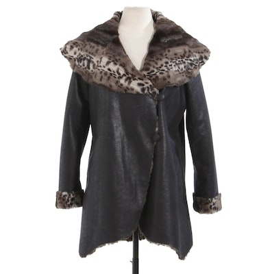 Reversible Jacket with Faux Fur Shawl Collar, Cuffs and Lining