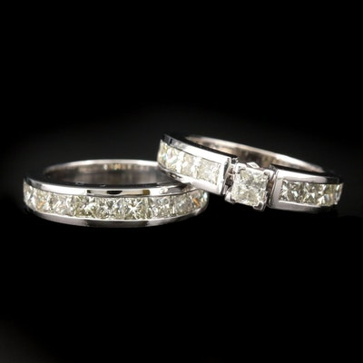 14K White Gold 1.30 CTW Diamond Ring and 1.08 CTW Diamond Band