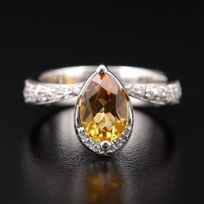 Italian Recarlo 18K White Gold Citrine and Diamond Ring