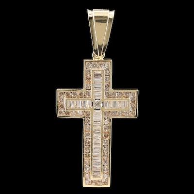 14K Yellow Gold 4.35 CTW Diamond Cross Pendant