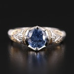 14K White Gold 1.36 CT Sapphire and Diamond Ring with Yellow Gold Accents