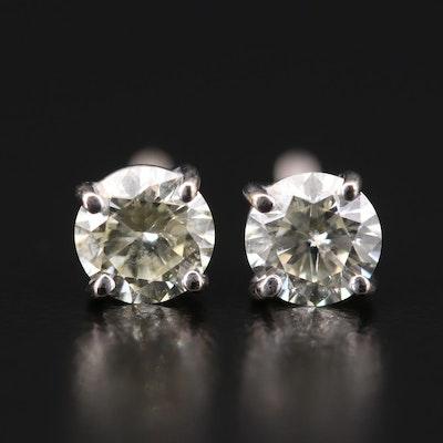 14K White Gold 0.84 CTW Diamond Stud Earrings