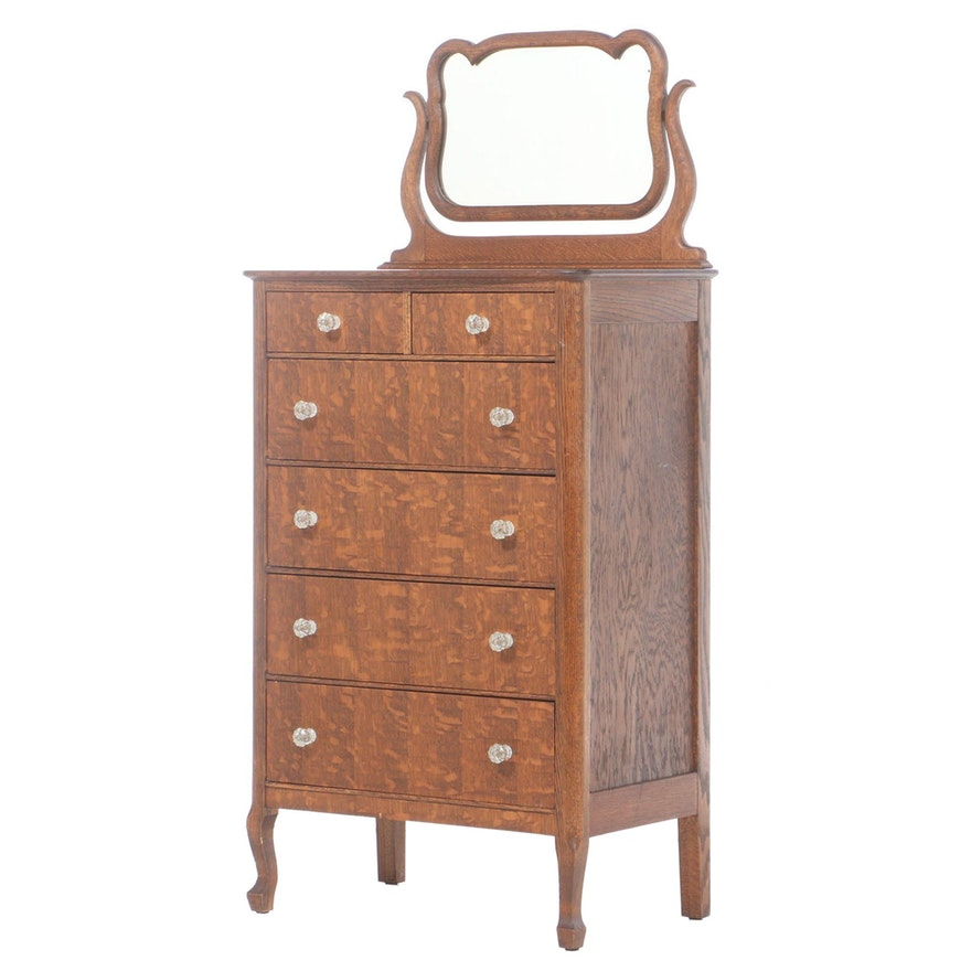 Victorian Style Oak Chest of Drawers with Mirror, Early 20th Century