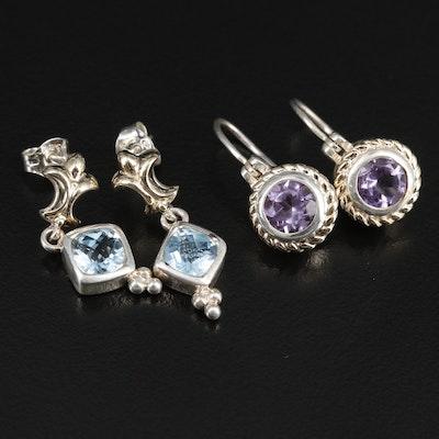 Sterling Gemstone Earrings Featuring Vanessa Michaels Topaz Dangles
