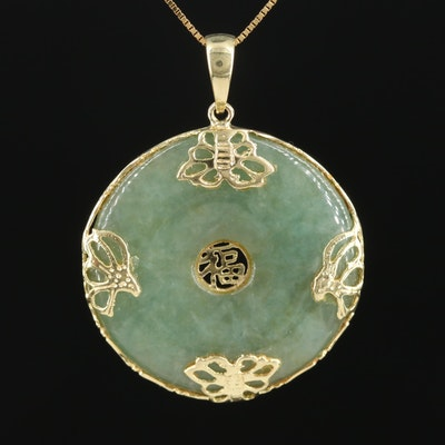 "14K Yellow Carved Jadeite ""Good Fortune"" Bi Pendant on Box Link Necklace"