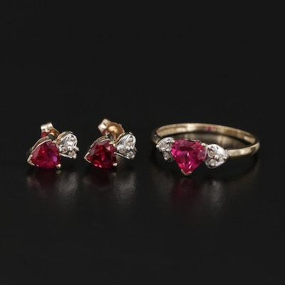 10K Yellow Gold Synthetic Ruby and Diamond Heart Ring and Stud Earrings Set