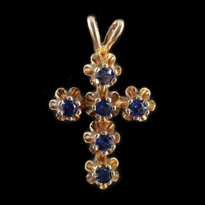 14K Yellow Gold Buttercup Set Synthetic Sapphire Cross Pendant