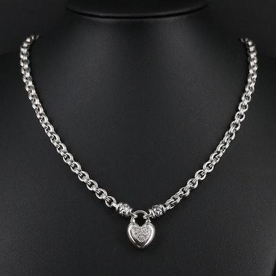 Scott Kay Sterling Silver Pavé Diamond Heart Necklace