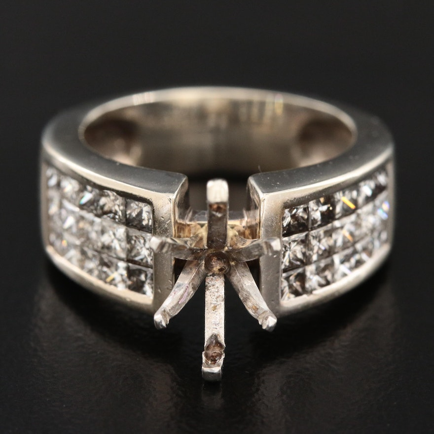 14K White Gold 1.28 CTW Diamond Semi-Mount Ring