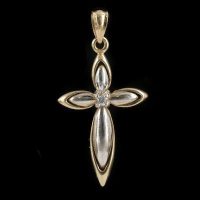 Krementz 14K Yellow and White Gold Diamond Cross Pendant