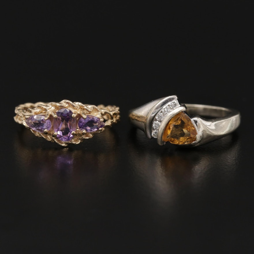 10K Yellow and White Gold Amethyst and Citrine with Diamond Rings