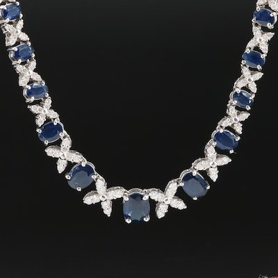14K White Gold 9.34 CTW Graduated Blue Sapphire and 2.50 CTW Diamond Necklace