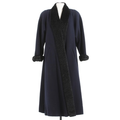 Paul Levy Navy Blue Wool Coat Trimmed in Black Persian Lamb