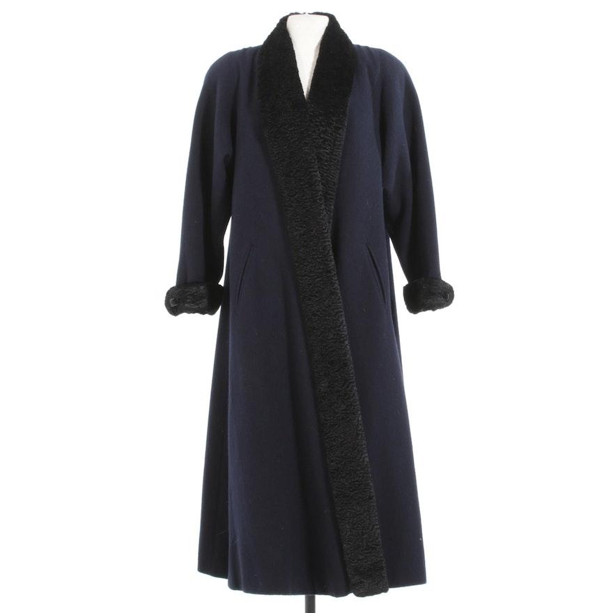 Paul Levy Navy Blue Wool Coat Trimmed in Black Persian Lamb