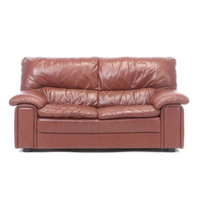 Russet Leather Loveseat, Late 20th Century