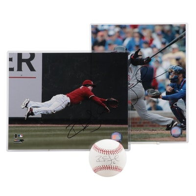 Ryan Freel Signed Photo Prints and a Major League Baseball  COA on the Baseball