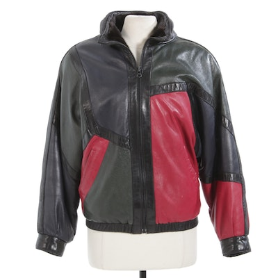 Reversible Mink and Color Block Leather Jacket with Dolman Sleeves