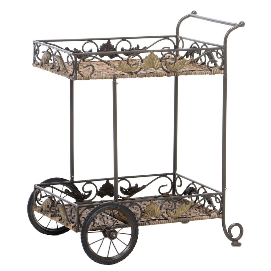 Woven Wicker and Metal Patio Tea Cart, Late 20th Century