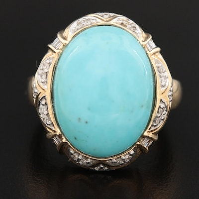 14K Yellow Gold Turquoise and Diamond Dome Ring