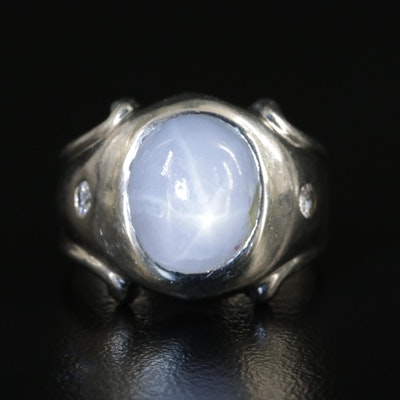 10K White Gold Star Sapphire and Diamond Ring
