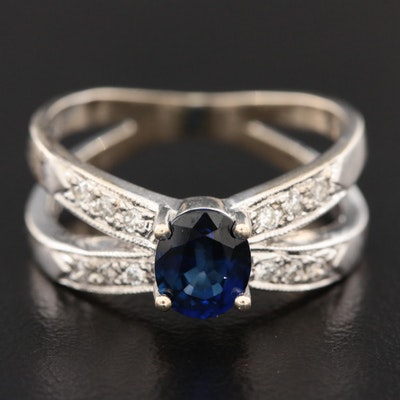 10K White Gold Sapphire and Diamond Crossover Ring